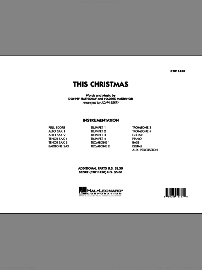 This Christmas (COMPLETE) sheet music for jazz band by Donny Hathaway, Nadine McKinnor and John Berry, intermediate skill level