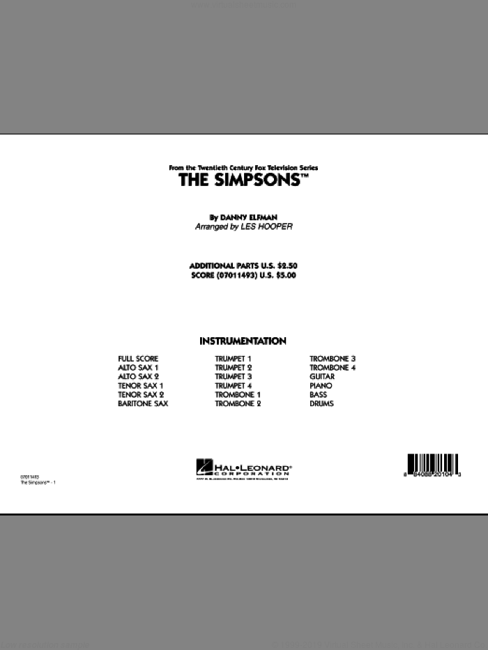 The Simpsons (COMPLETE) sheet music for jazz band by Danny Elfman and Les Hooper, intermediate jazz band. Score Image Preview.