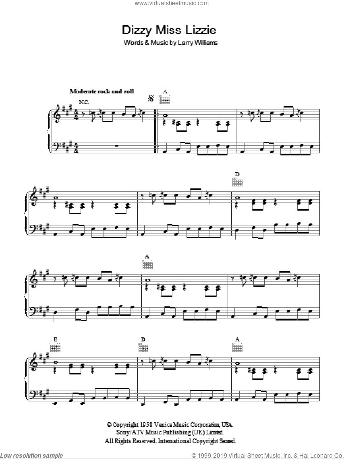 Dizzy Miss Lizzy sheet music for voice, piano or guitar by Larry Williams, intermediate. Score Image Preview.