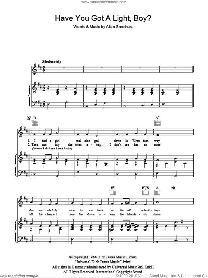 Have You Got A Light Boy? sheet music for voice, piano or guitar by Allan Smethurst