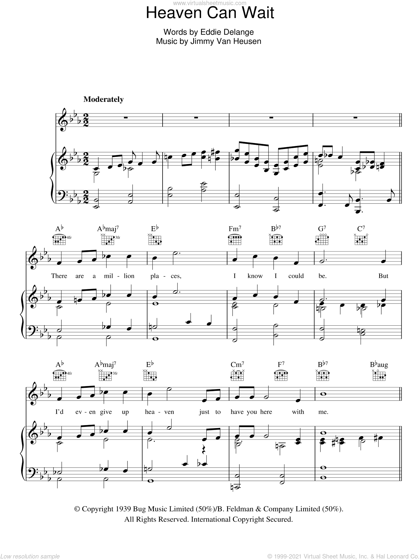 Heaven Can Wait sheet music for voice, piano or guitar by Glen Miller, Eddie DeLange and Jimmy Van Heusen, intermediate voice, piano or guitar. Score Image Preview.