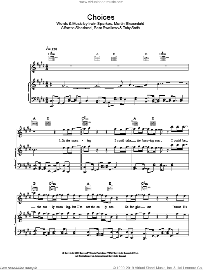 Choices sheet music for voice, piano or guitar by The Hoosiers, Alfonso Sharland, Irwin Sparkes, Martin Skarendahl, Sam Swallows and Toby Smith, intermediate. Score Image Preview.
