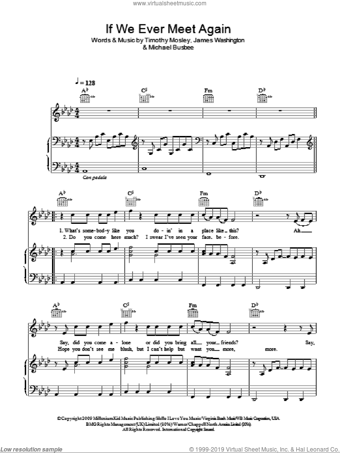 If We Ever Meet Again sheet music for voice, piano or guitar by Timbaland featuring Katy Perry, Katy Perry, Timbaland, James Washington, Michael Busbee and Tim Mosley. Score Image Preview.
