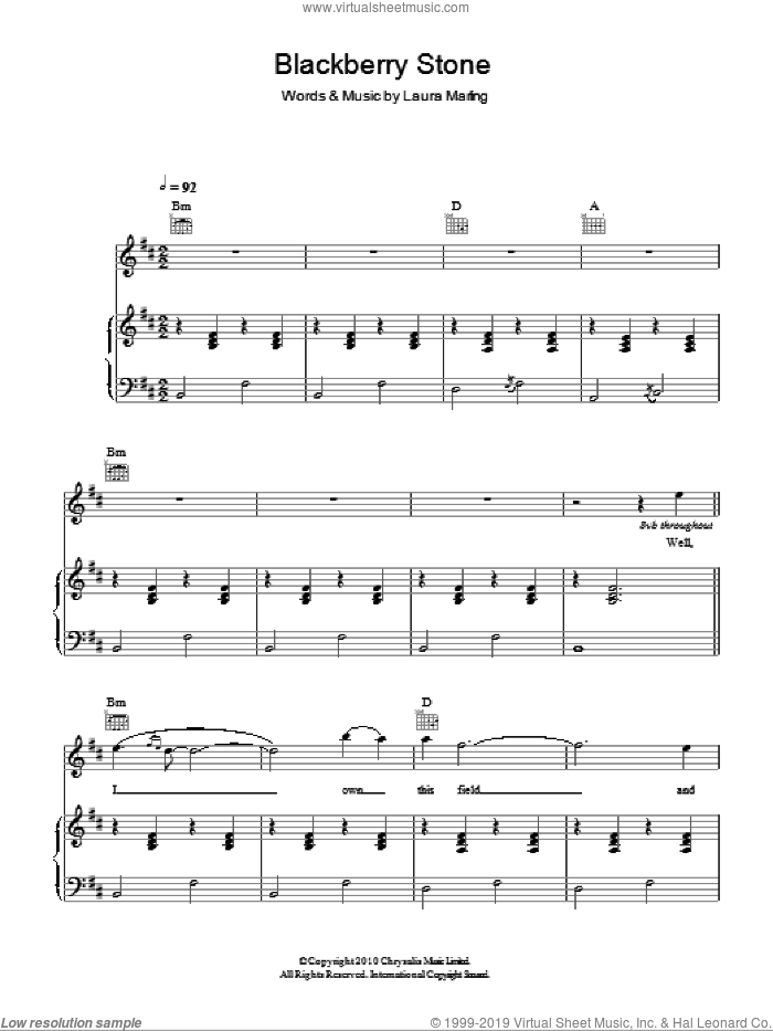 Blackberry Stone sheet music for voice, piano or guitar by Laura Marling, intermediate voice, piano or guitar. Score Image Preview.