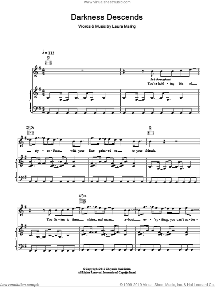 Darkness Descends sheet music for voice, piano or guitar by Laura Marling, intermediate skill level
