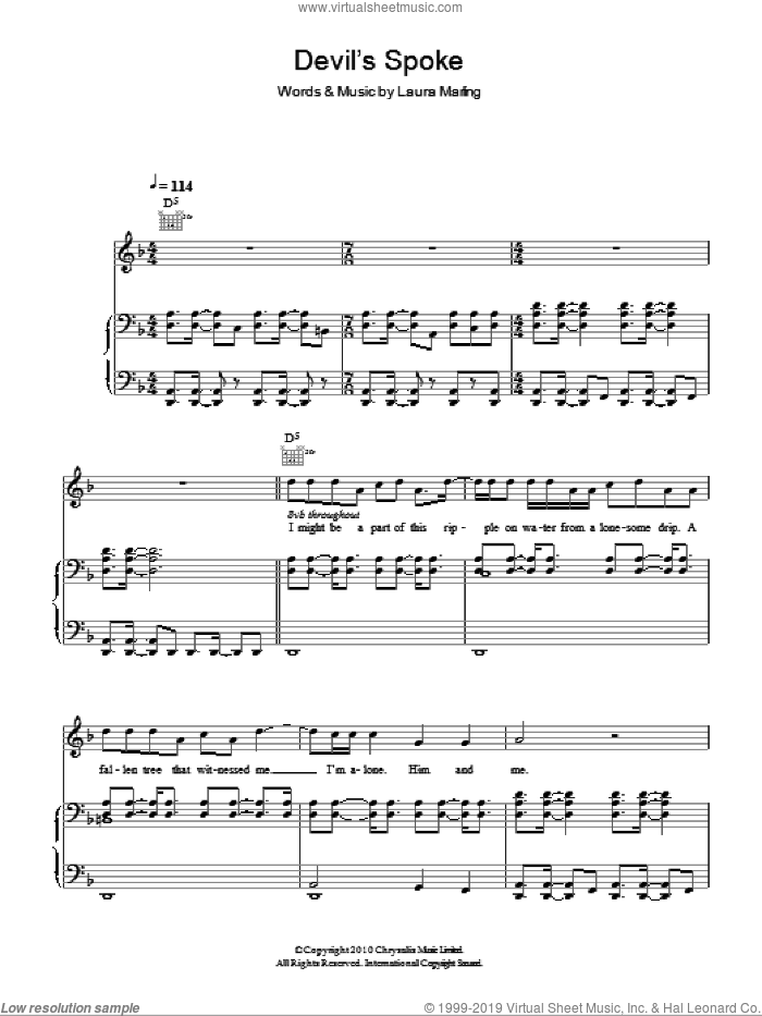 Devil's Spoke sheet music for voice, piano or guitar by Laura Marling