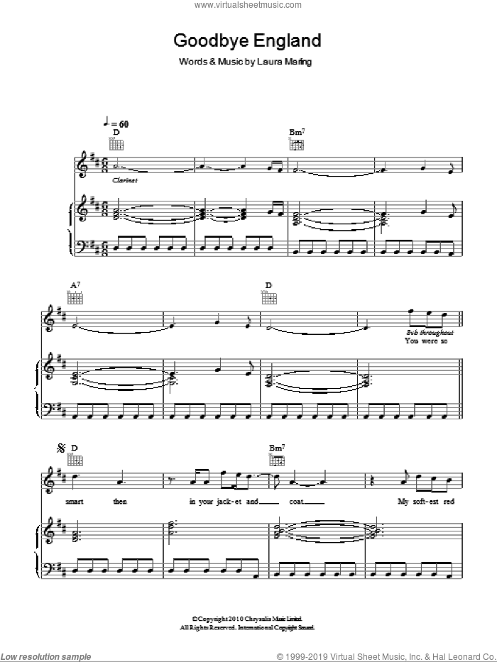 Goodbye England (Covered In Snow) sheet music for voice, piano or guitar by Laura Marling. Score Image Preview.
