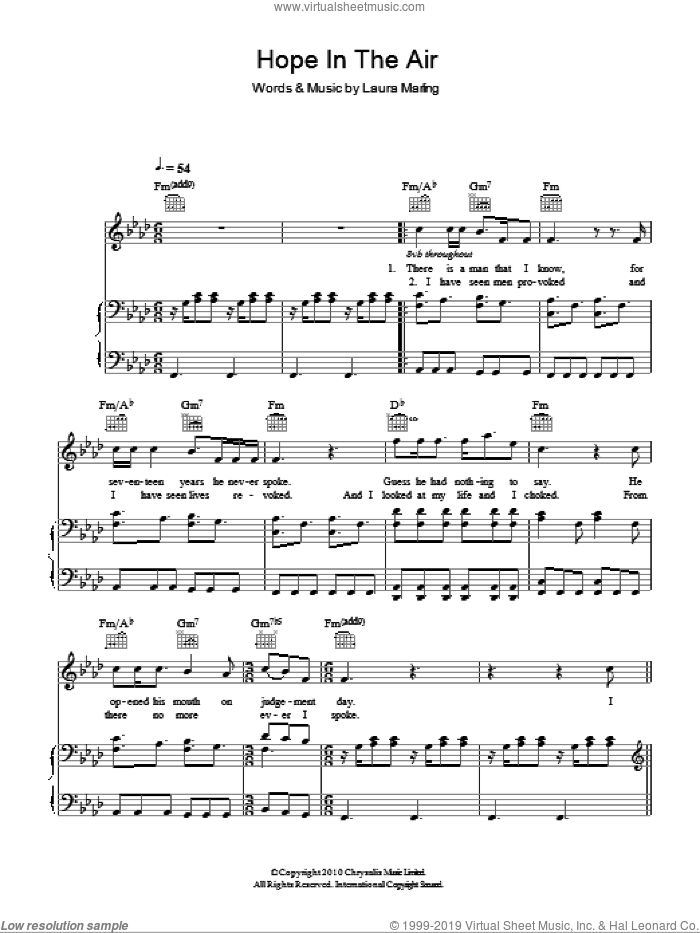 Hope In The Air sheet music for voice, piano or guitar by Laura Marling. Score Image Preview.