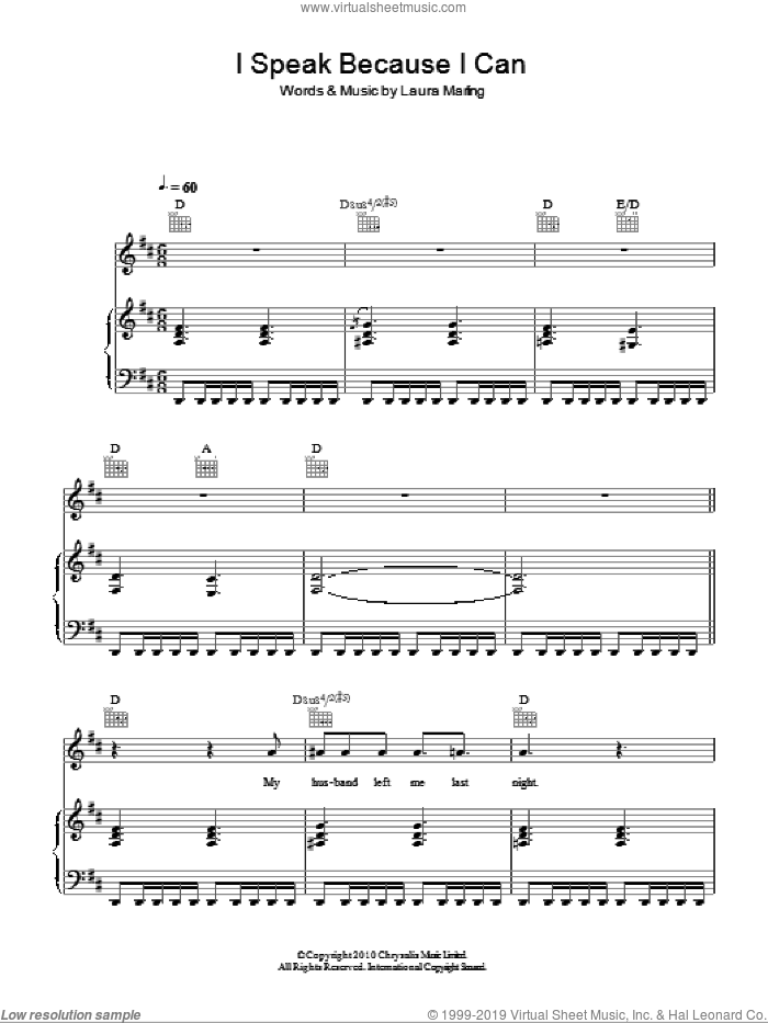 I Speak Because I Can sheet music for voice, piano or guitar by Laura Marling