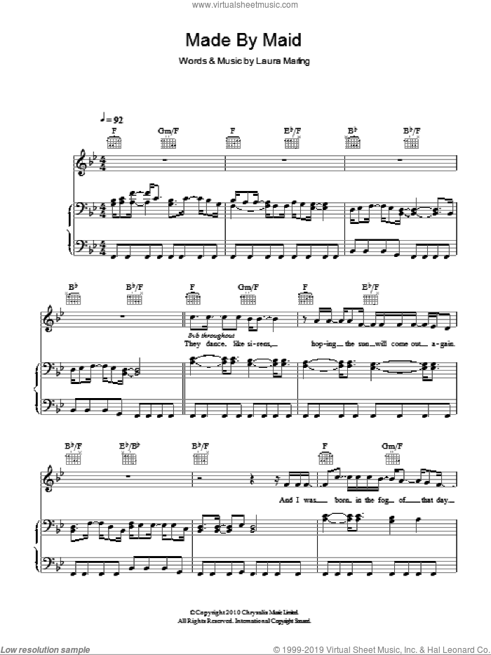 Made By Maid sheet music for voice, piano or guitar by Laura Marling. Score Image Preview.