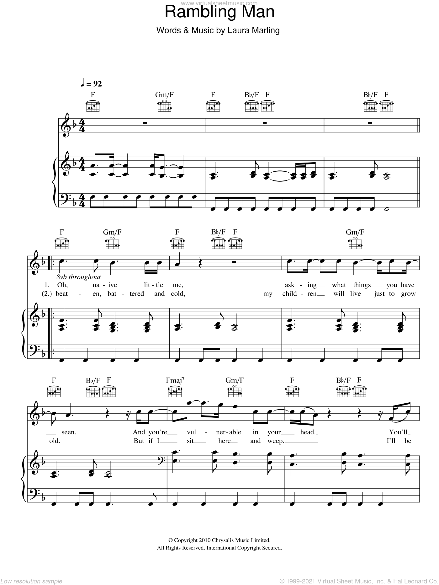 Rambling Man sheet music for voice, piano or guitar by Laura Marling. Score Image Preview.