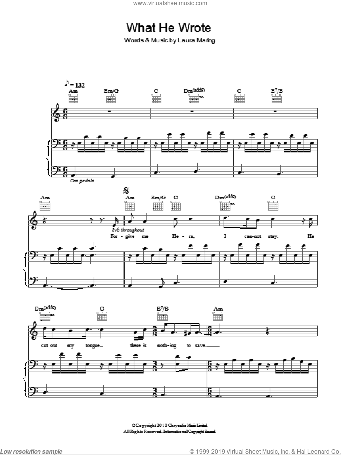What He Wrote sheet music for voice, piano or guitar by Laura Marling. Score Image Preview.