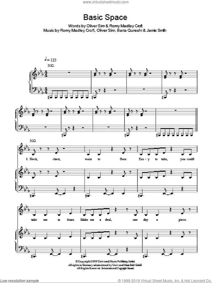 Basic Space sheet music for voice, piano or guitar by The XX, Baria Qureshi, Jamie Smith, Oliver Sim and Romy Madley Croft, intermediate skill level