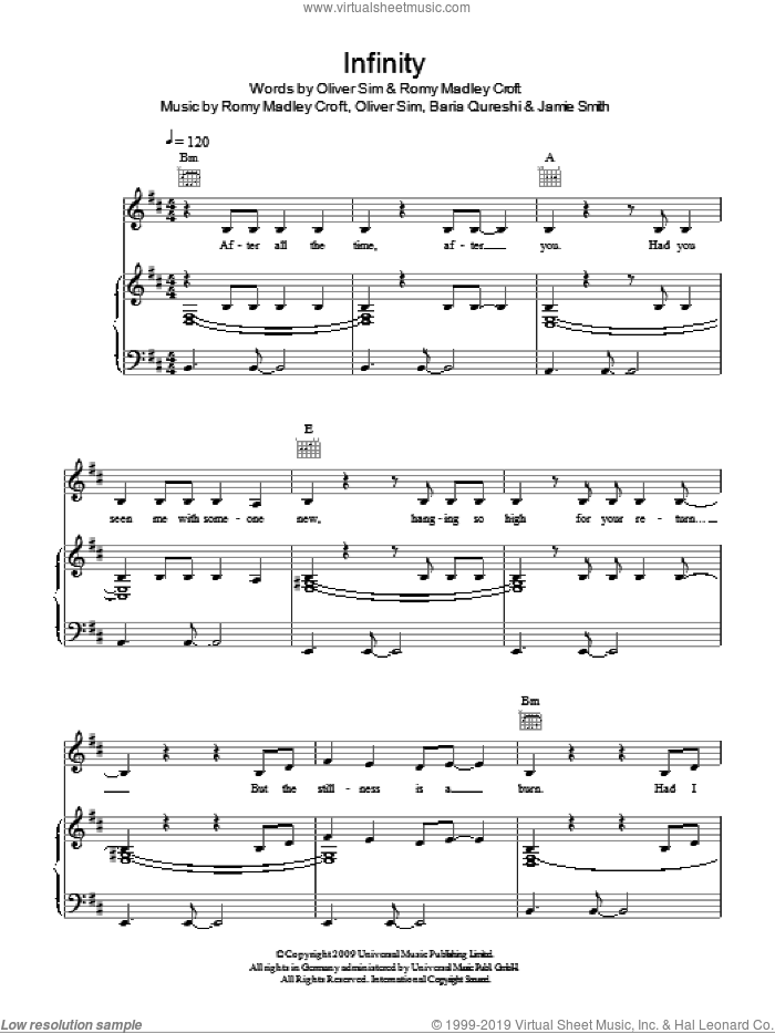 Infinity sheet music for voice, piano or guitar by Romy Madley Croft and The XX. Score Image Preview.