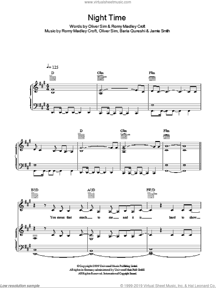Night Time sheet music for voice, piano or guitar by The XX, intermediate. Score Image Preview.