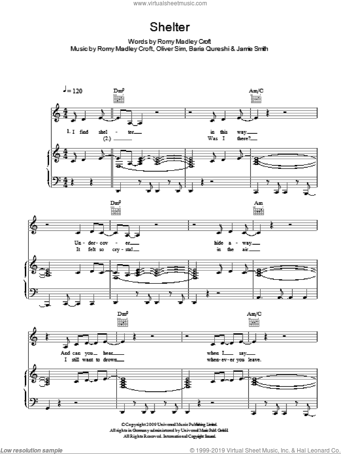 Shelter sheet music for voice, piano or guitar by The XX, Baria Qureshi, Jamie Smith, Oliver Sim and Romy Madley Croft, intermediate. Score Image Preview.
