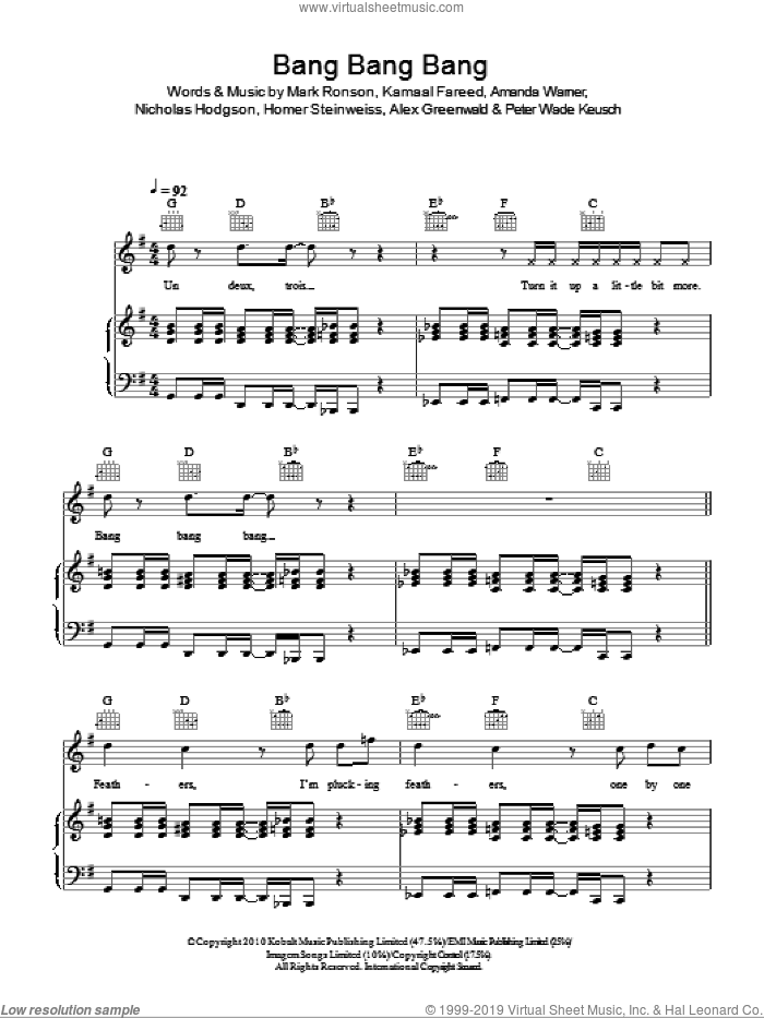 Bang Bang Bang sheet music for voice, piano or guitar by Mark Ronson & The Business Intl., Alex Greenwald and Mark Ronson, intermediate voice, piano or guitar. Score Image Preview.