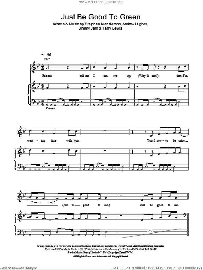 Just Be Good To Green sheet music for voice, piano or guitar by Terry Lewis, Lily Allen and Stephen Manderson. Score Image Preview.