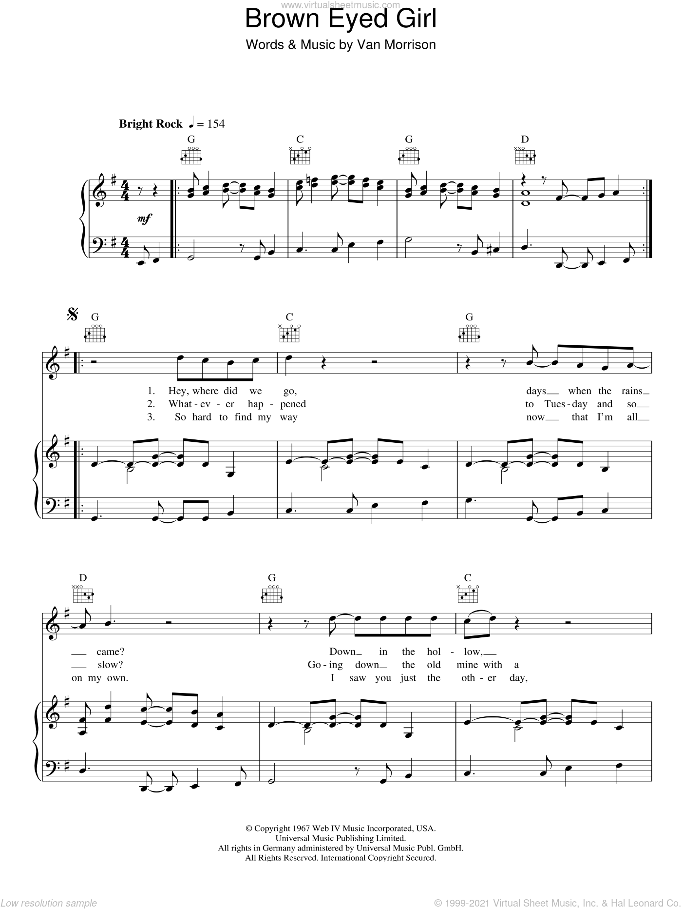 Brown Eyed Girl sheet music for voice, piano or guitar by Van Morrisson and Van Morrison, intermediate skill level