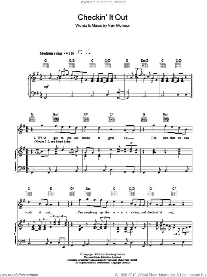 Checkin' It Out sheet music for voice, piano or guitar by Van Morrison and Van Morrisson, intermediate. Score Image Preview.