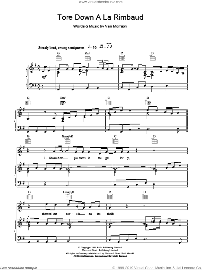 Tore Down A La Rimbaud sheet music for voice, piano or guitar by Van Morrison and Van Morrisson. Score Image Preview.