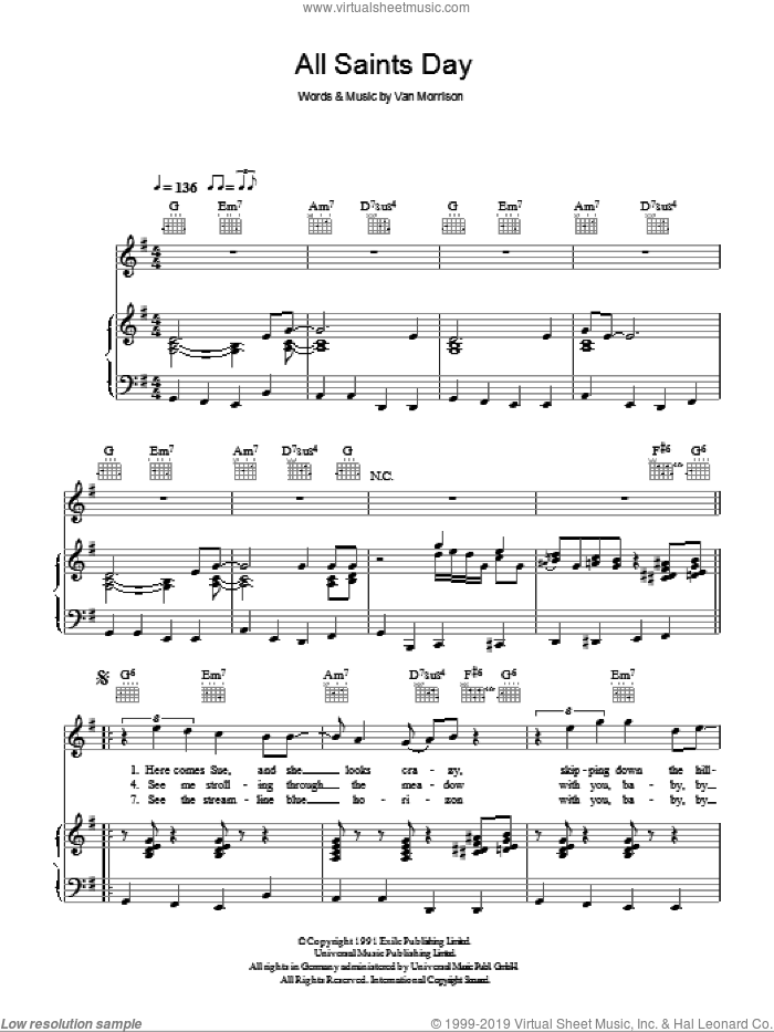 All Saints' Day sheet music for voice, piano or guitar by Van Morrison