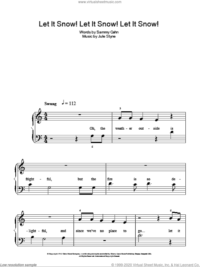 Let It Snow! Let It Snow! Let It Snow!, (easy) sheet music for piano solo by Sammy Cahn and Jule Styne, easy skill level