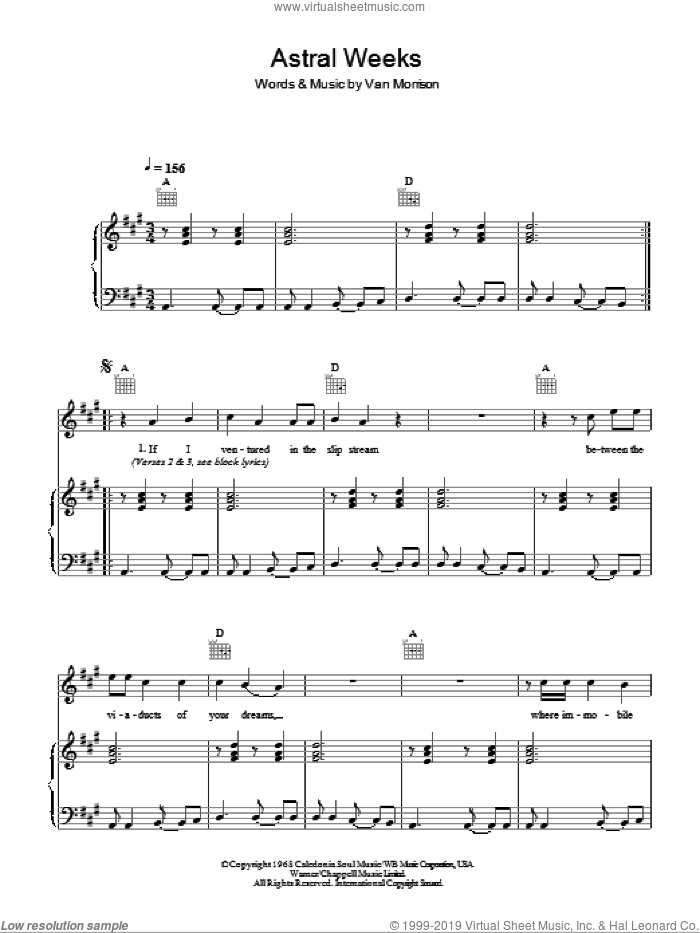 Astral Weeks sheet music for voice, piano or guitar by Van Morrison and Van Morrisson. Score Image Preview.