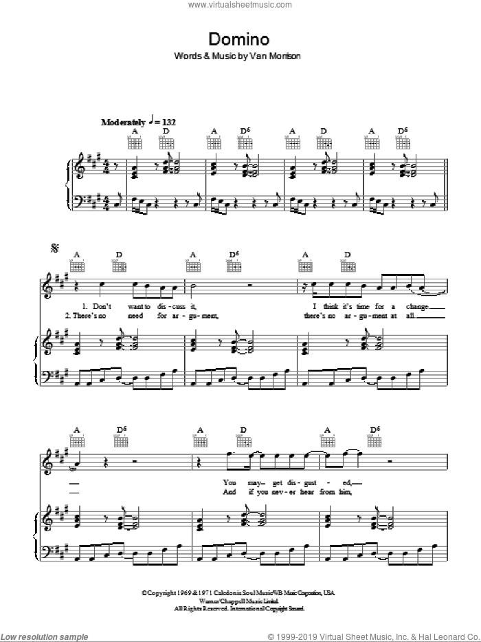 Domino sheet music for voice, piano or guitar by Van Morrison and Van Morrisson. Score Image Preview.