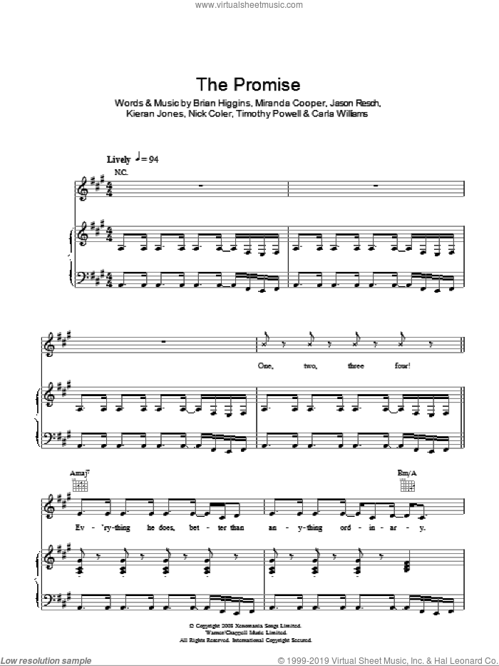 The Promise sheet music for voice, piano or guitar by Timothy Powell