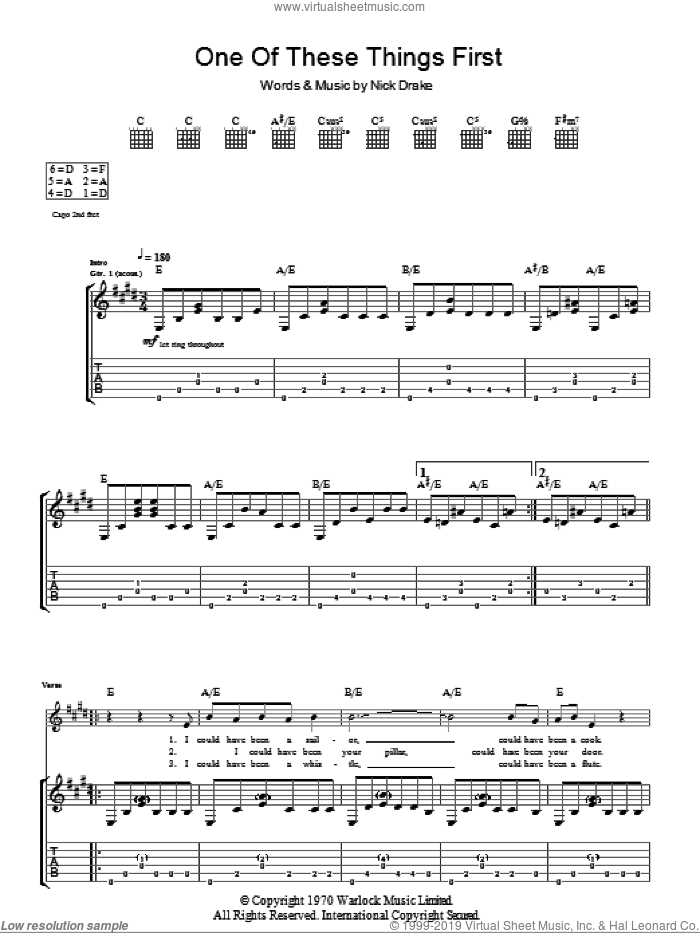 One Of These Things First sheet music for guitar (tablature) by Nick Drake, intermediate