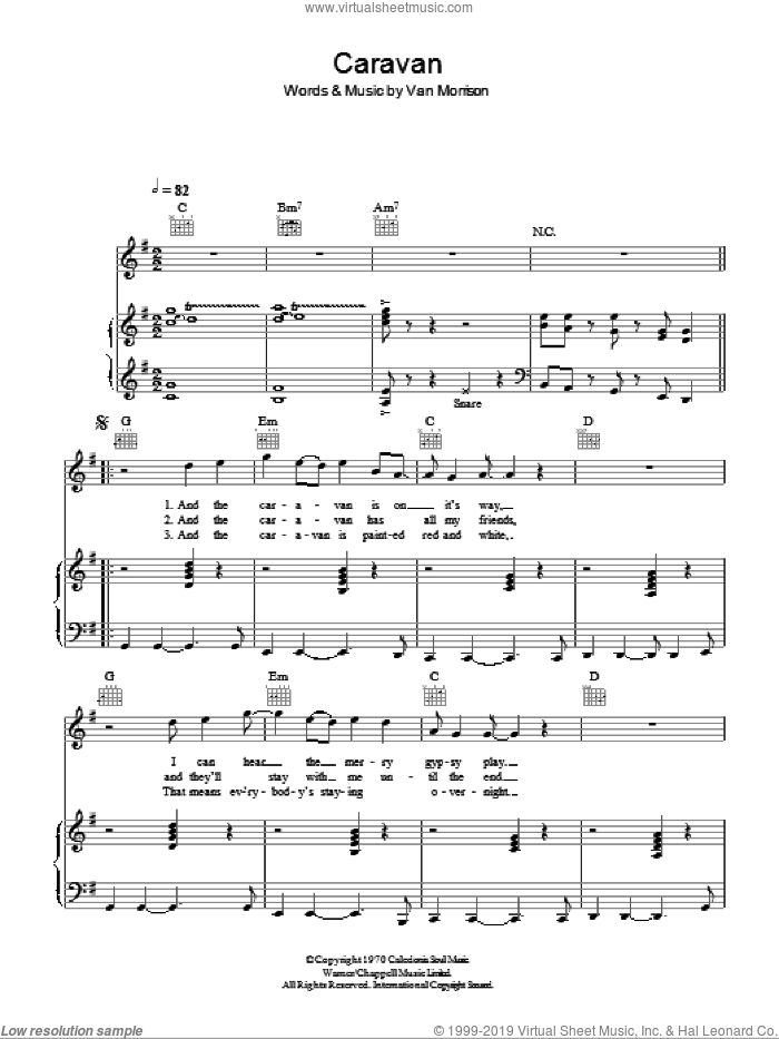 Caravan sheet music for voice, piano or guitar by Van Morrisson and Van Morrison, intermediate