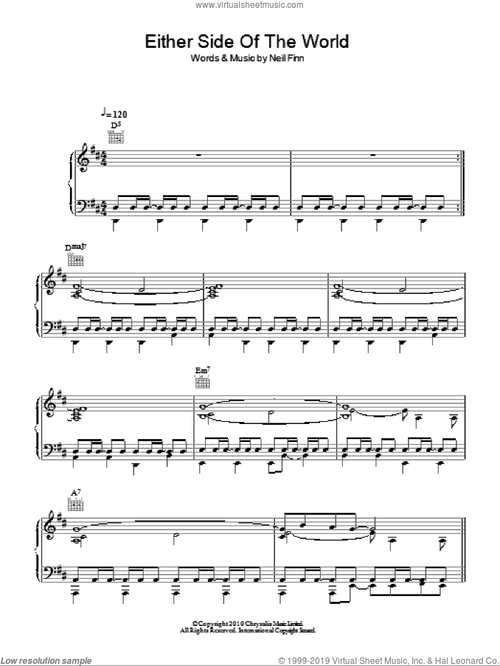 Either Side Of The World sheet music for voice, piano or guitar by Crowded House and Neil Finn, intermediate