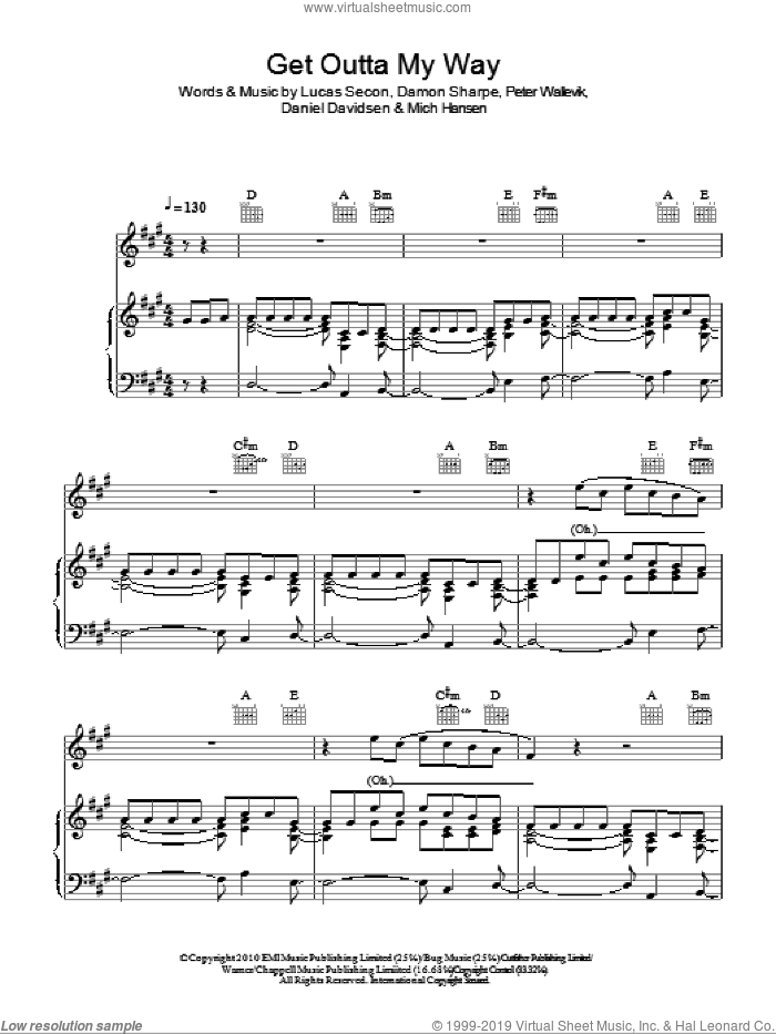 Get Outta My Way sheet music for voice, piano or guitar by Kylie, Damon Sharpe, Daniel Davidsen, Lucas Secon, Mich Hansen and Peter Wallevik, intermediate