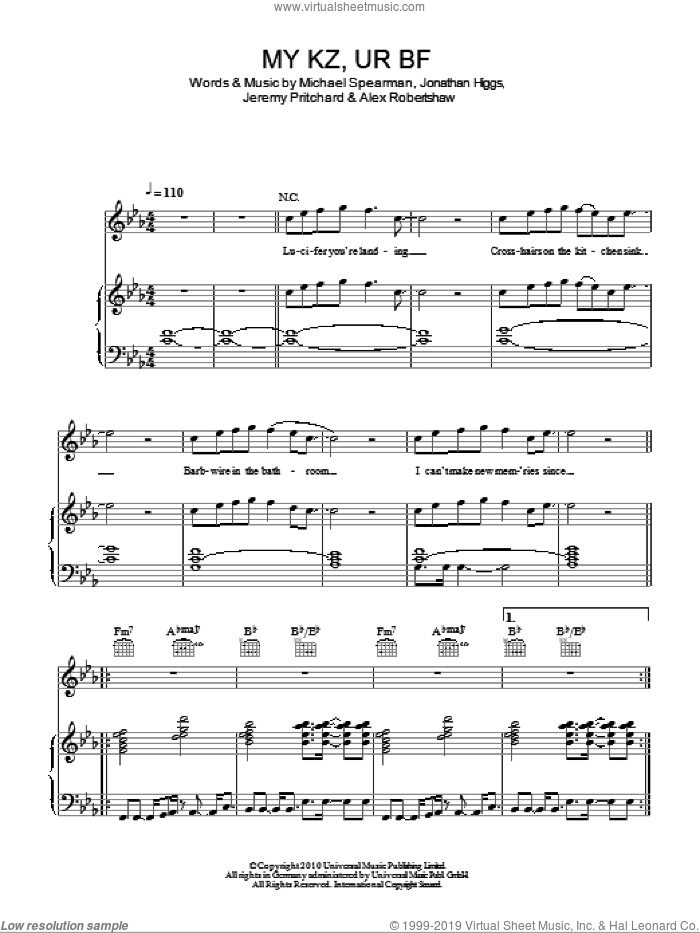 MY KZ, UR BF sheet music for voice, piano or guitar by Michael Spearman and Alex Robertshaw. Score Image Preview.
