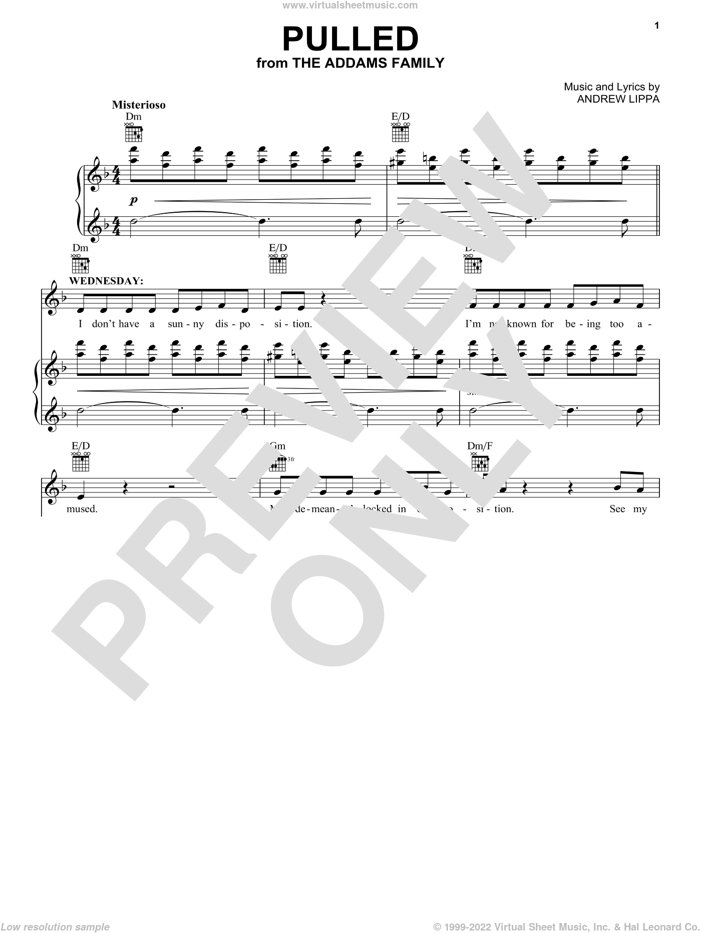 Pulled sheet music for voice and piano by Andrew Lippa and The Addams Family (Musical), intermediate skill level