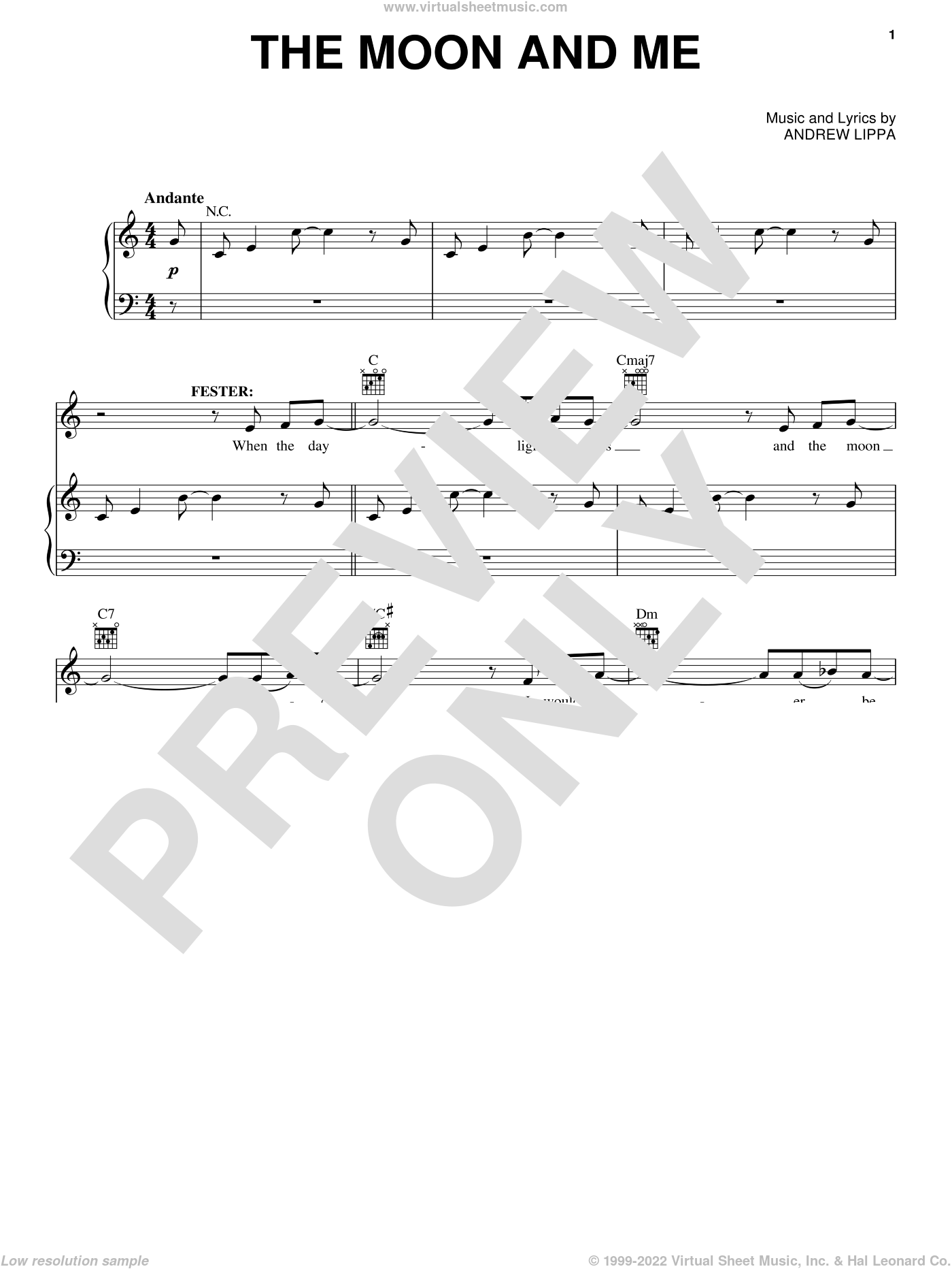 The Moon And Me sheet music for voice and piano by Andrew Lippa. Score Image Preview.