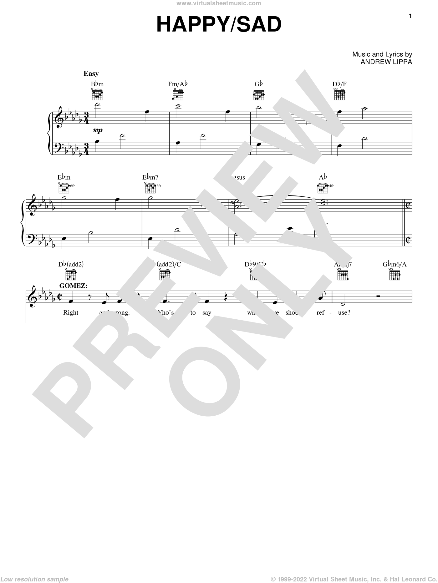 Happy / Sad sheet music for voice and piano by Andrew Lippa and The Addams Family (Musical), intermediate skill level