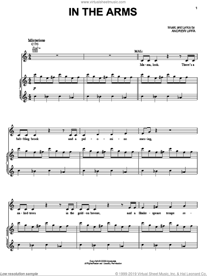 In The Arms sheet music for voice and piano by Andrew Lippa, intermediate voice. Score Image Preview.