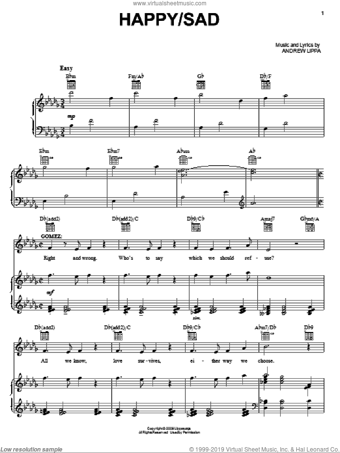 Happy / Sad sheet music for voice, piano or guitar by Andrew Lippa and The Addams Family (Musical), intermediate. Score Image Preview.