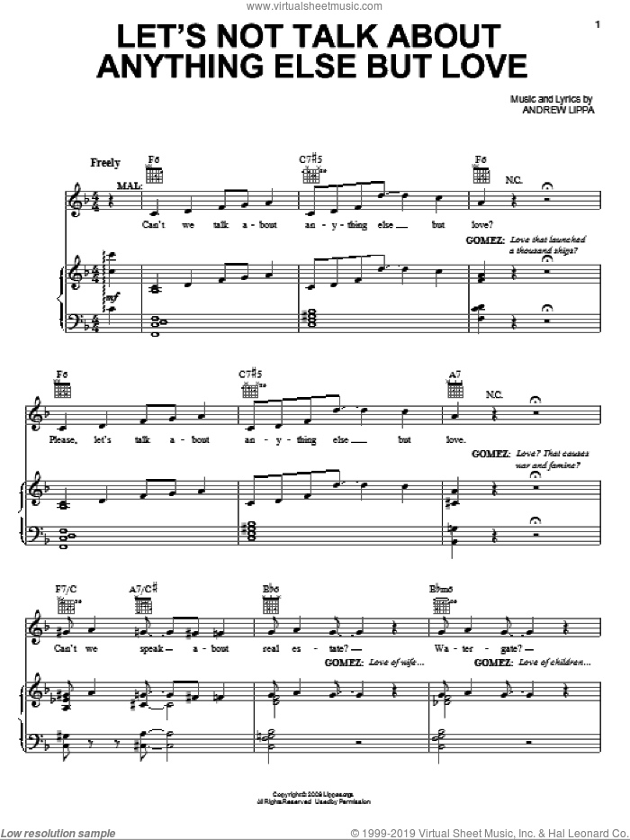 Let's Not Talk About Anything Else But Love sheet music for voice, piano or guitar by Andrew Lippa and The Addams Family (Musical), intermediate skill level