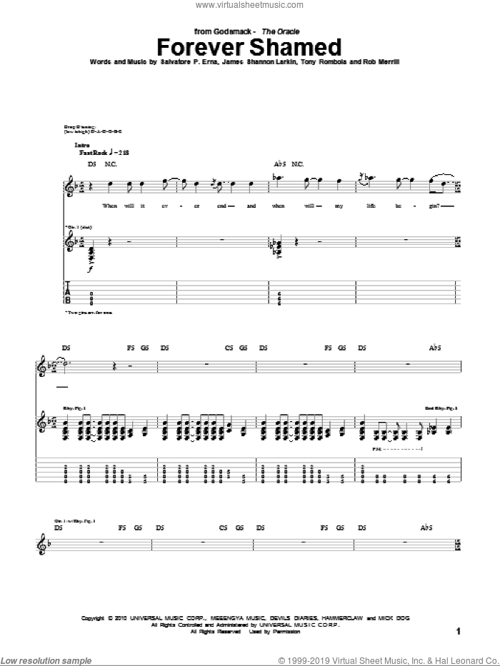 Forever Shamed sheet music for guitar (tablature) by Godsmack, James Shannon Larkin, Rob Merrill, Salvatore P. Erna and Tony Rombola, intermediate. Score Image Preview.