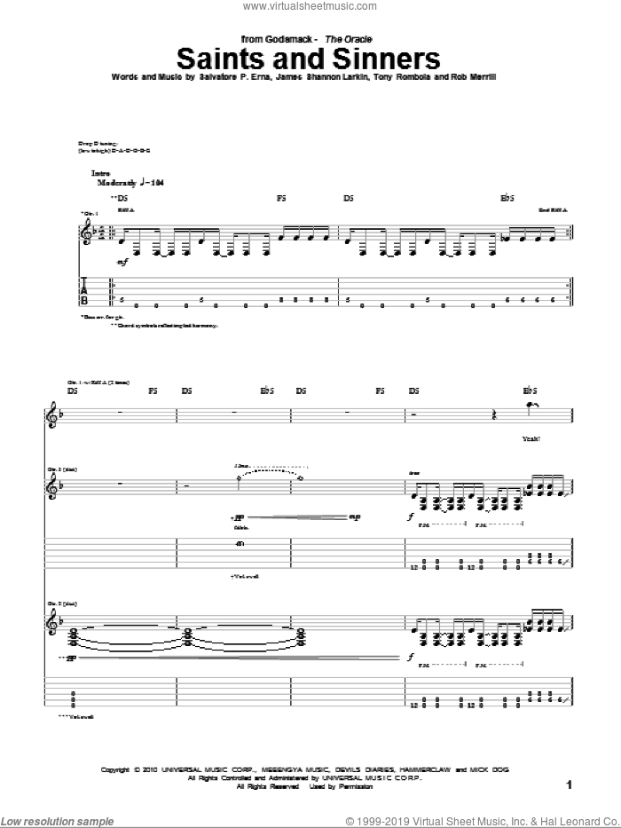 Saints And Sinners sheet music for guitar (tablature) by Tony Rombola. Score Image Preview.