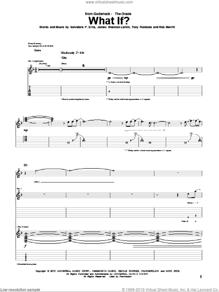 What If? sheet music for guitar (tablature) by Tony Rombola