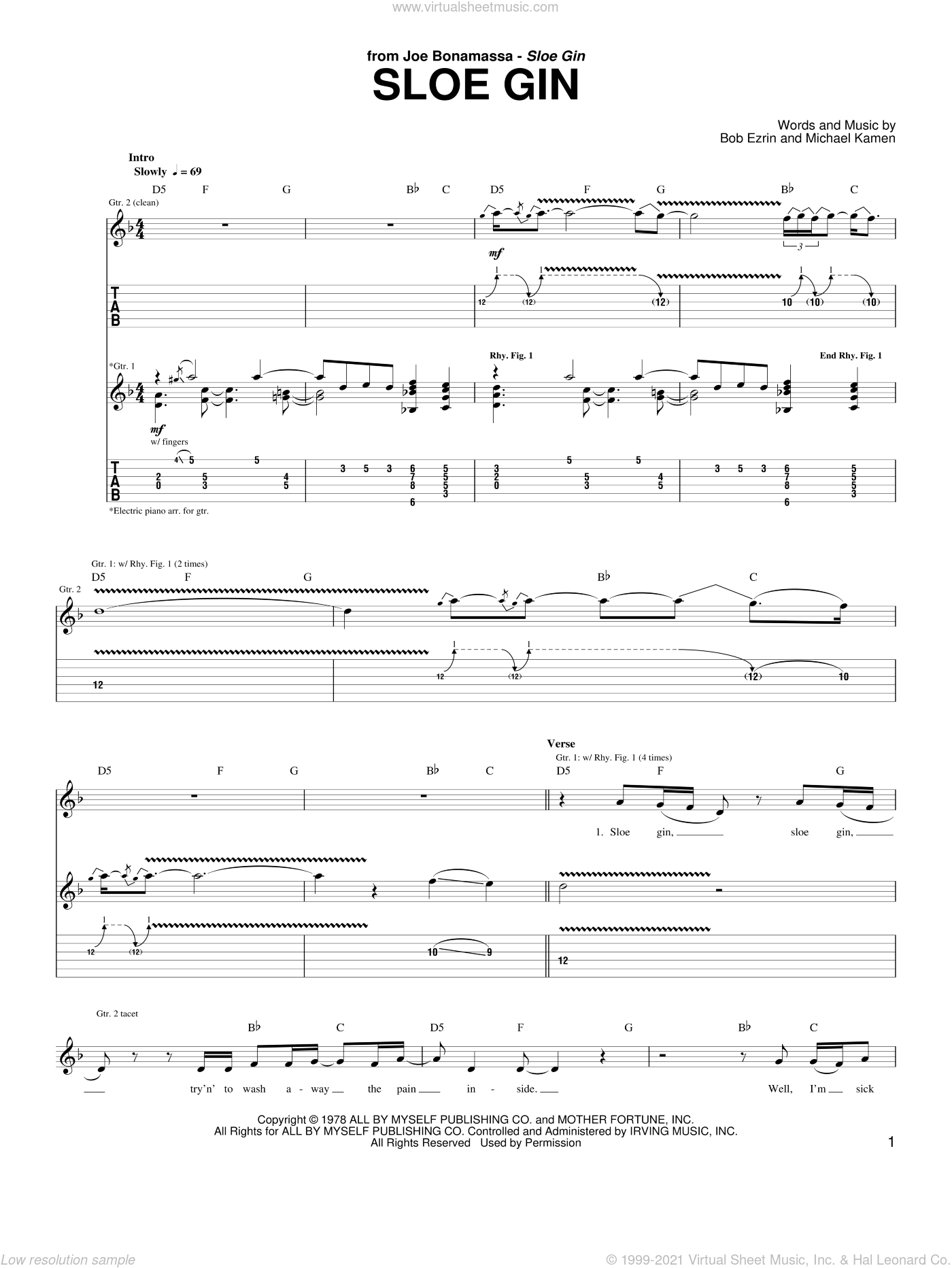 Sloe Gin sheet music for guitar (tablature) by Joe Bonamassa, Bob Ezrin and Michael Kamen, intermediate guitar (tablature). Score Image Preview.
