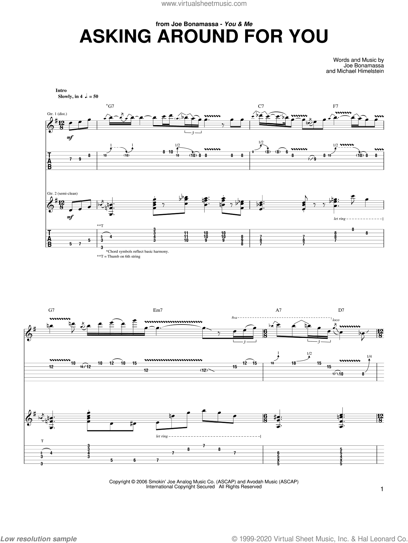Asking Around For You sheet music for guitar (tablature) by Michael Himelstein and Joe Bonamassa. Score Image Preview.