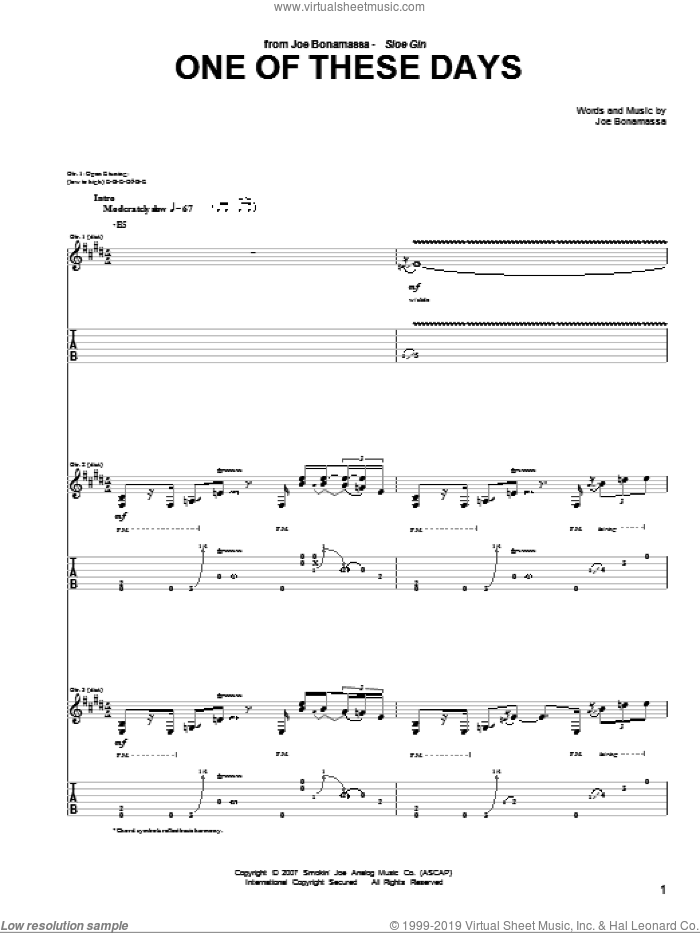 One Of These Days sheet music for guitar (tablature) by Joe Bonamassa, intermediate guitar (tablature). Score Image Preview.