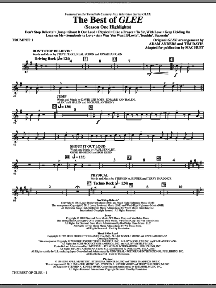 The Best Of Glee (Season One Highlights) (complete set of parts) sheet music for orchestra/band by Mac Huff, Adam Anders, Glee Cast, Miscellaneous and Tim Davis, intermediate skill level
