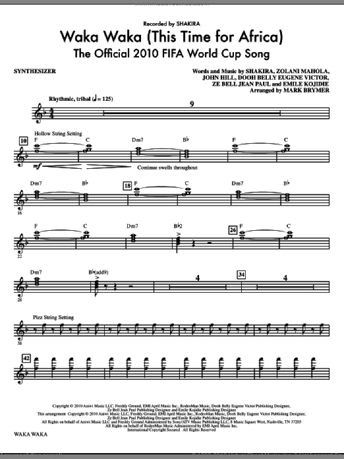 Waka Waka (This Time For Africa) - The Official 2010 FIFA World Cup Song (complete set of parts) sheet music for orchestra/band (Rhythm) by Shakira, Dooh Belly Eugene Victor, Emile Kojidie, John Hill, Za Bell Jean Paul, Zolani Mahola and Mark Brymer, intermediate