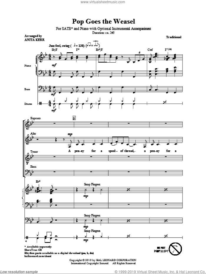 Pop Goes The Weasel sheet music for choir (SATB) by Anita Kerr and Miscellaneous, intermediate choir (SATB). Score Image Preview.